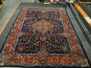 oriental rug cleaning in progress