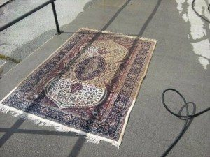 rug with fire damage being restored
